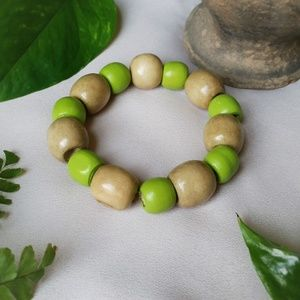 Lime green and tan wood bead bracelet